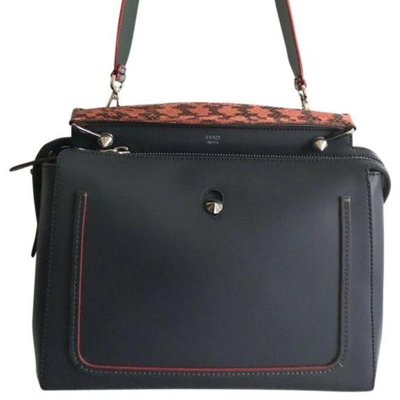 Fendi Handbags - FENDI Dotcom Navy Leather Shoulder Bag